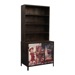 Industrial Black Iron Cabinet Console w Open Shelves - The bright colors of travel posters pop against the black iron cabinet and that just adds to the fun. This smart storage system provides lots of space with a large two shelf bottom cupboard with double doors and four open book case style shelves.
