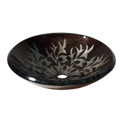 """Avanity Corporation - Sparkle Black/Silver Design Glass Vessel Sink - Fused glass with Sparkle Black/Silver design provides a stylish, contemporary look.  Round shape complements a variety of vanity and countertop designs.  Material: Tempered Glass; Color: Sparkle Black/Silver;  Dimensions: 18""""W X 18""""D X 5""""H;  Thickness: 0.75"""";  Drain Hole: 1.8"""";  Weight: 23 lbs;  Installation: Top Mount; Not Included: Pop Up Drain, Mounting Ring & Faucet"""