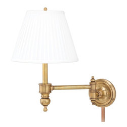 Hudson Valley Lighting - Hudson Valley Lighting Chatham Transitional Swing Arm Wall Sconce X-BGA-1336 - This traditional European style transitional swing arm wall lamp brings the elegance of the old with the functionality of modern technology. Several finish styles all give a very traditional, elegant feel but can easily match any decor. The simple white shade directs light that is perfect for a small space or for reading.