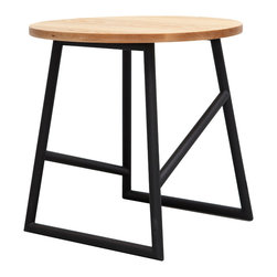 Iacoli & McAllister - Algedi Table, Black/Oak - Lines and angles support a simple circle of natural oiled ash in this use-anywhere side table. Picture it next to your favorite chair topped with a cup of oolong and that book about Pythagoras you've been meaning to read. If only geometry class had been this stylish.