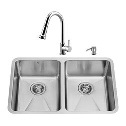 """VIGO Industries - VIGO All in One 29-inch Undermount Stainless Steel Double Bowl Kitchen Sink and - Give your kitchen a fresh new look with a  VIGO All in One Kitchen Set featuring a 29"""" Undermount kitchen sink, faucet, soap dispenser, and two sink strainers."""