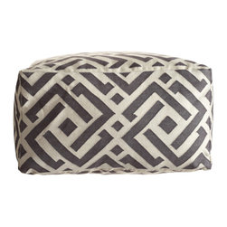 Kuba Jaipuri Pouf  - This graphic pouf will add a comfy extra seat to the floor and bring int big style with its interesting pattern that lands somewhere between David Hicks and Greek Key.