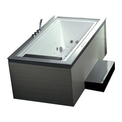 Ariel Platinum - Ariel Platinum AM146JDTSZ Negative Edge Whirlpool Bathtub - You never knew negative could be so positive, did you? This deep whirlpool tub is positively breathtaking with an LED chromatherapy light system, a handheld shower, a whopping 21 massage jets, and a modern negative edge that immerses you in comfort.