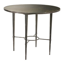French Heritage - Ardenay Round Dining Table/Center Table - A delicate-looking table that packs a big design punch, crafted of slender lengths of metal topped with an antique mirror top.