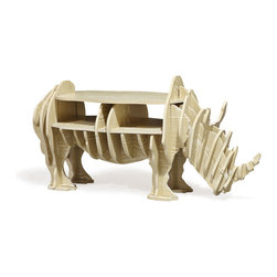 Wild Rhino Table - This table is sure to make a statement in your home. Made in the shape of a grazing rhinocerous, it features two functional compartments amidst a truly whimsical design.