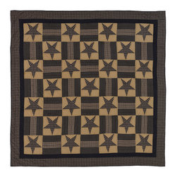 VHC Brands - Teton Star Navy and Khaki Patchwork Quilt from VHC Brands, Twin - The Teton Star quilt is from VHC Brands Ashton & Willow Collection and features a navy and khaki color scheme in a stars and bars patchwork quilt pattern. The quilt has a 100% cotton shell with hand quilting with stitch in the ditch and echo style quilting. Machine washable, follow manufacture's instructions.