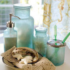 Blue Beach Glass Bath Accessories - Blue beach glass accessories for your bath are perfect for your getaway, or they can bring in a bit of the sunshine feel at home.