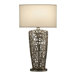 Nova - Bird's Nest Heart Table Lamp - UL Certified. 6 foot cord. Bulb NOT included. Elegant and catchy metalwork design. Soft cream shade, robust, durable design. Accent table lamp. Modern, contemporary. Shade Material: White Linen. Shade Dimensions: 10 x 17 - 10 x 17 x 10V. Switch Type: 3-way rotary switch. 1 Year Limited Manufacturer Warranty. 17 in. W x 30 in. H, 6.05 lbs
