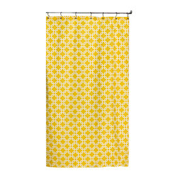 "American Made Dorm & Home - Shower Curtain, Yellow Metro - All-Cotton Shower Curtain in colors and patterns to perk up your bath! 72""x72"" with button hole openings for shower hooks. Shower hooks not included."