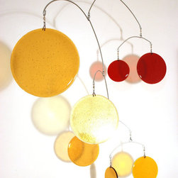 Large Glass Mobile in Gold and Red by Leah Pellegrini - This glass mobile is a sculptural masterpiece. It would be beautiful in any space, especially a room with high ceilings.