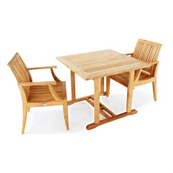 "Westminster Teak Furniture - 3 pc Square Laguna Patio Set - 3 pc Square Laguna Patio Set comes complete with 2 Teak Laguna Chairs  and one 36"" Square Premium teak table.  Lifetime Warranty."