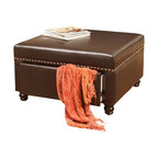 Great Deal Furniture - Cressida Square Storage Ottoman, Brown Leather - The Cressida Storage Ottoman is a perfect addition to any room in your home. Upholstered with brown bonded leather, this ottoman offers storage and table space alike with no sacrifice to aesthetic appeal. A drawer on the side offers a camouflaged, secret storage solution that makes this piece both stylish and practical. The Cressida ottoman is neutral in color to complement your existing furniture.