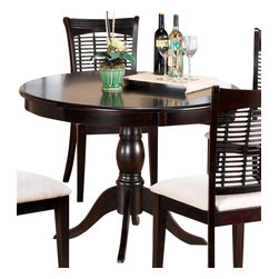 Hillsdale Furniture - Hillsdale Glenmary/Bayberry Pedestal 44x44 Round Dining Table in Dark Cherry - Finished in a dark cherry or classic oak, our Bayberry collection combines the clean lines of a transitional design with the unique addition of a bamboo effect in the chair back. The chairs and stools have a cream colored fabric seat. The matching tables, available in both round and rectangle, each claim their own fabulous features:. The round has a simple gently carved pedestal base. Made from hardwoods, this group is composed of both solids and climate controlled wood composites to prevent cracking and splitting from changes in temperature or humidity.