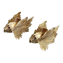 L'Objet - L'Objet 24k Matte Gold Plated Fish Salt & Pepper Shakers Set of 2 - L'Objet is best known for using ancient design techniques to create timeless, yet decidedly modern serveware, dishes, home decor and gifts. 24k Gold Plated Band. Swarovski Crystals in Amethyst Lead-Free Crystal Luxuriously Gift Boxed. Attention to detail is often what distinguishes any presentation from beautiful to memorable. These spice jewels will enrich any decor with their distinguishable handcrafted details. Set of 2.
