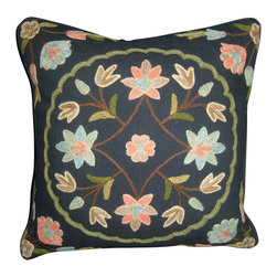 Crewel Fabric World - Crewel Pillow Button Pom Black Cotton 16x16 Inches - Artisans in a remote mountain village in Kashmir crewel stitch these blossoms, vines and leaves by hand, resulting in a lush pattern of richly shaded wool yarns on Linen, Cotton, Velvet, Silk Organza, Jute. Also backed in natural linen, Cotton, Velvet Silk Organza, Jute with a hidden zipper.