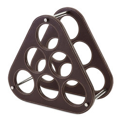 Imax - Elegant and Beautiful Style Brown Harding Wine Rack Home Decor - Six of one, half a dozen of the other: Leather look wine rack with contrast stitching holds up to six preferred vintages in sophisticated style. Color is Brown. Material is 50rdboard, 50% PU.