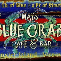 Red Horse Signs - Vintage Signs Blue Crab Cafe & Bar - Create  your  own  Blue  Crab  cafe  &  bar  right  at  home  when  you  personalize  this  sign  with  your  name  town  and  state.  Brightly  colored  in  blue  and  red  this  sign  is  printed  directly  to  distressed  wood  for  a  weathered  rustic  style  sure  to  please.  Measures  14x24  inches.