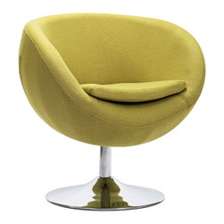 """Zuo - Zuo Lund Pistachio Green Arm Chair - Zuo Lund Pistachio Green Arm Chair Funky and bright round accent chair. Pistachio green fabric. Steel construction. Soft cushioned seat. Sleek chrome finish round base. Stylish seating for a living room or bedroom. A beautiful addition to your home from Zuo Modern. No assembly required. 28 1/2"""" wide. 25"""" deep. 29"""" high.   Funky and bright round accent chair.  Pistachio green fabric.  Steel construction.  Soft cushioned seat.  Sleek chrome finish round base.  Stylish seating for a living room or bedroom.  A beautiful addition to your home from Zuo Modern.  No assembly required.  28 1/2"""" wide.  25"""" deep.  29"""" high."""