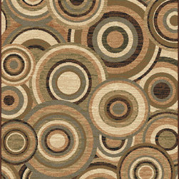Tayse Rugs - Elegance Beige and Green Rectangular: 5 Ft. x 7 Ft. Rug - - Circles aligned in conformity create visual energy in a room with this transitional to contemporary area rug. Beige, brown, green and blue. Soft polypropylene fibers in a plush 0.39'' pile height. Vacuum and spot clean.  - Square Footage: 35  - Pattern: Geometric  - Pile Height: 0.39-Inch Tayse Rugs - 5382  Multi  5x7
