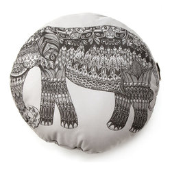 Inova Team -Modern 100% Organic Cotton Pillow - This light-hearted elephant has handcrafted charm by the trunkful! His dower, gray hide is enlivened with a potpourri of lively patterns, evoking the aesthetic seen in his homeland, India. Prop him on your couch or bed to bring a big, bold statement to your stomping grounds. He's bound to be one elephant in the room you'll want to keep around! Screen-printed and hand-assembled in Massachusetts.