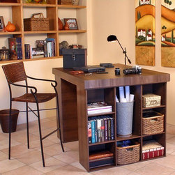 "Venture Horizon - 599.Project Center 38.5"" H x 55"" W Desk - The Project Center's ingenious design makes it perfect for studying, sewing, crafting or scrap booking. From concept through design and production, this work center helps organize your creations. It combines numerous convenient ways to organize and store all the materials for any project. Keep your work in progress close at hand on the spacious 55'' x 41'' table top and arrange your materials in tidy oversized adjustable bookcase shelves. Best of all the Project Center is counter top height so you won't have to break your back gift wrapping, quilting or drawing. Features: -Counter top height (38 '').-Perfect for studying, sewing, crafting or scrap booking.-Huge work surface (over 15 sq.ft.).-Nine tidy oversized shelves (6 adjustable) in each bookcase.-Easy to clean.-Made in the USA.-Includes 2 bookcases and a table top work surface.-Constructed from extra strong, stain resistant laminated wood composites that includes mdf.-Finish: Black, White, Oak or Dark Walnut.-Distressed: No.-Country of Manufacture: United States.Dimensions: -Shelf Depth: 11.5''.-Work Surface Dimensions: 55'' W x 41'' D.-Overall Dimensions: 38.5'' H x 55'' W x 41'' D.Assembly: -Specifications:.-Assembly required."