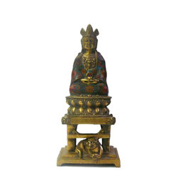 Golden Lotus - Chinese Metal Blue Enamel cloisonne Sitting Buddha Statue - This is a restored Buddha statue made of metal with golden gilt color. The dressing of the Buddha is decorated with blue base red flower enamel cloisonne finish.