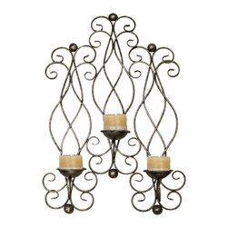 ecWorld - Urban Designs Metal Candle Sconce Wall Mount Decor - Antique Silver - Revive your home decor with the unique design of this triple candle wall sconce. Crafted from metal, scrolling forms offer richness and a sense of traditional luxury. It comes in an antiqued gold leaf finish to emulate the look of a loved family heirloom.