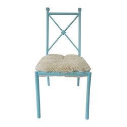 Pre-owned Turquoise Vintage Chair with Fleece Seat - This 1970s chair puts the fun in funky! The metal frame has been newly stripped and re-painted a vibrant turquoise while the seat is covered in a plush sheep's wool. It's in excellent vintage condition.