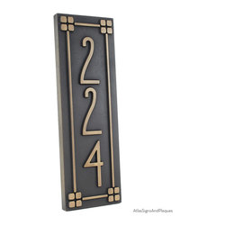 "Vertical American Craftsman Home Numbers with Lines 6"" x 18"" in Brass Patina - For your American Craftsman Home. The font's simple, classic, no-nonsense design would make Frank Lloyd Wright flash one of his famous toothy grins and dance a little jig. We think this is very representative of the American Craftsman movement and a good fit for your bungalow, mission, prairie, or arts and crafts home."