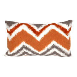 """Trans-Ocean - Zigzag Ikat Orange Pillow - 12""""X20"""" - The highly detailed painterly effect is achieved by Liora Mannes patented Lamontage process which combines hand crafted art with cutting edge technology.These pillows are made with 100% polyester microfiber for an extra soft hand, and a 100% Polyester Insert.Liora Manne's pillows are suitable for Indoors or Outdoors, are antimicrobial, have a removable cover with a zipper closure for easy-care, and are handwashable."""