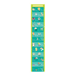 """WallPops - Alphabet Growth Chart Wall Decal - This kids wall decal doubles as an educational alphabet and a cute growth chart! Featuring a fresh color palette and charming pictures to accompany each letter of the alphabet, the chart is also a ruler to mark your kids height on the wall.  The alphabet growth chart decal is 9.75"""" x 48"""" and contains both US standard and metric units. WallPops are repositionable and always removable."""