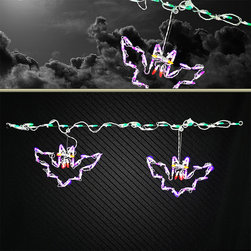 Frontgate - LED Bat Light Link Display - Outdoor Christmas Decorations - Commercial-grade lights. Weather-resistant, powdercoated frame. 35 purple LED lights. 125V. UL listed. Light up your roofline, fence or pathway with our festive LED Bat Light Link. Intensely bright LED lights use less electricity than incandescent and generate very clear, crisp colors, making them especially ideal for holiday decor. Adorned with 35 glistening green and purple lights, this link is a perfectly eerie way to instantly illuminate any ghoulish night.  .  .  .  .  . Lead cord measures 5'L . Includes clips and S hooks .