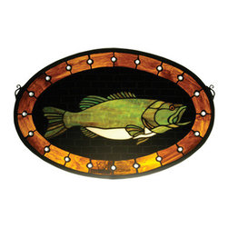 """Meyda - 22""""W X 14""""H Bass Plaque Stained Glass Window - Capturing a sportsman's dream, this striking gamefish is featured in mountain lake green art glass on ablack background.  Handcrafted by skillful meydaartisans using tiffany's world famouscopperfoil construction process"""