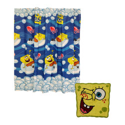 Store51 LLC - Spongebob Squarepants Bath Rug Shower Curtain Set - Bring the excitement of Bikini Bottom to your bathroom with this fun shower curtain and bath mat featuring Spongebob Squarepants! Make yours the ultimate Spongebob bathroom by adding wall stickers and accents (sold separately). The shower curtain is decorative and must be used with a shower curtain liner. ... CONTENTS: One shower curtain measuring 70 x 72 inches (178 x 183 cm).; One bath rug measuring 25 x 23 inches (64 cm x 58 cm).