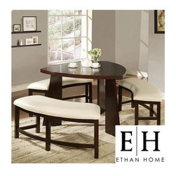Ethan Home Paradise Dining Set - Check out this cool diamond-shaped table. The durable Asian rubberwood and the faux leather upholstery on the benches make this set sturdy and comfortable.