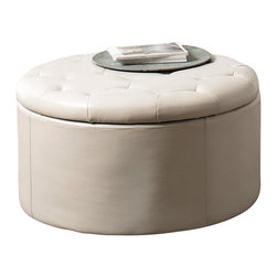 Coaster - Coaster Landen 5 Piece Round Leather Storage Cocktail Ottoman in Cream - Coaster - Ottomans - 501107 - Complete the look and function of your living room with this stylish storage ottoman. Its round, button-tufted seat brings a soft, traditional touch, while its lift-top storage is spacious and discreet. In addition, bonded leather upholstery is both chic and durable. The ultimate living room accessory, this storage ottoman is useful as a seat, footrest, storage piece, or even table in the center of a room.