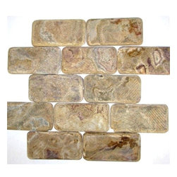 Multi Brown Tumbled Bricks Pattern Mesh-Mounted Onyx Tiles - 3 in. x 6 in. Multi Brown Mesh-Mounted Bricks Pattern Onyx Mosaic Tile is a great way to enhance your decor with a traditional aesthetic touch. This tumbled mosaic tile is constructed from durable, impervious onyx material, comes in a smooth, unglazed finish and is suitable for installation on floors, walls and countertops in commercial and residential spaces such as bathrooms and kitchens.