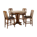 Riverside Furniture - Riverside Furniture Craftsman Home 5 Piece Convert a Height Dining Table Set - Riverside Furniture - Dining Sets - 2951295256x45PCPKG