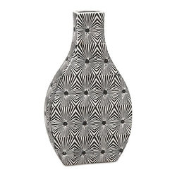 iMax - Reagan Small Pattern Vase - The small Reagan vase features bold geometric pattern in a stark black and white contrasting color scheme. Pair with its larger counter part for a striking set of conversation pieces.