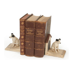 Jack Russell Bookends - Jack Russell Bookends are nicely crafted from wood , resin and has hand painted finish.This charming pair of vintage inspired Jack Russell bookends, replete with dog houses, bring this charm home.