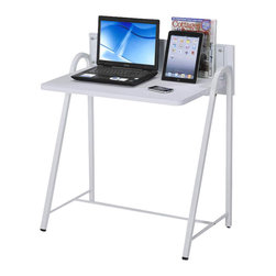 Techni Mobili - Techni Mobili White Computer Desk - 1 Box - White Computer Desk - 1 Box by Techni Mobli. Compact and sturdy White Student Computer Desk. Modern design made of an MDF panel with PVC laminate surface and powder coated steel legs. Features a back glass panel with open storage space for books or magazines. Easy to Assemble with tools included. Overall size:  31.5 W x 19.75 D x 35.5 H  Desk (1)