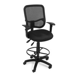 OFM - OFM Comfort Series Ergonomic Task Chair with Arms Draft Kit in Black - OFM - Drafting Chairs - 130AA3DKA05 - It's all-day comfort and long-term style with OFM's Modern Mesh Ergonomic Task Stool 130-AA3-DK. The back features built-in lumbar support and breathable mesh provides hours of comfort. Plus the mesh and seat fabric are it stain resistant so the chair ke