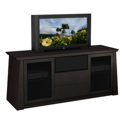 "Furnitech - 70"" Asian Styled Contemporary TV Media Console - 70"" Asian Styled Contemporary TV Media Console for Flat Screen and Audio Video Installations"