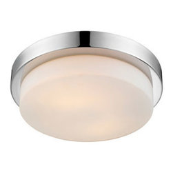 Golden Lighting - Golden Lighting 1270-13-CH Signature 2 Light Flush Mount, Chrome - Artfully modern disc style with Opal Glass and Chrome finish. Available in three sizes. UL approved for damp locations. Provides widespread ambient lighting. Allows for greater open area around the fixture. Fixture coordinates with a number of collections.