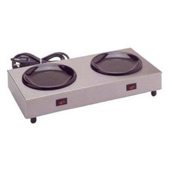 Bloomfield Industries - Double Warmer Coffee Hotplate - Bloomfield Stainless Steel, commercial UL, 200W, 120V. Two warmers, independent on/off rocker switches.