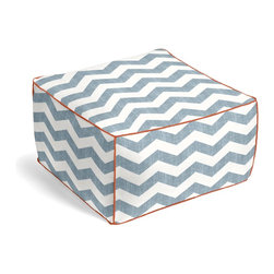 Aqua & White Chevron Custom Pouf - The Square Pouf is the hottest thing in decor since the sectional sofa. This bean bag meets Moroccan style ottoman does triple duty as a comfy extra seat, fashion-forward footstool, or part-time occasional table.  We love it in this graphic chevron in a washed aqua blue & ivory on lightweight linen adds a punch of color to the contemporary home.