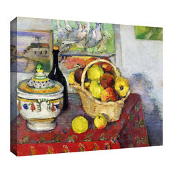 ArtWall - Paul Cezanne 'Still Life with Tureen' Gallery-Wrapped Canvas Art - Paul Cezanne 'Still Life with Tureen' gallery-wrapped canvas is a high-quality canvas print depicting a basket of fruit and an assortment of housewares. Shapes and their shadows are studied and colorfully rendered in a post-impressionist style.