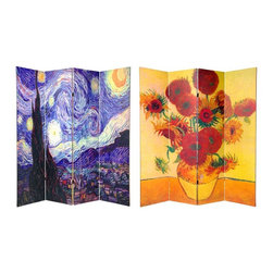 Oriental Unlimted - 4-Panel Double Sided Works of Van Gogh Canvas - One double-sided divider, both sides shown in image. Beautifully cropped images of 2 classic Van Goghs. A solidly built, lightweight and opaque. Use to divide a space, block the sun and hide an unsightly area. Durable art quality canvas stretched onto sturdy, kiln dried wood frames. Each panel: 15.75 in. W x 70.88 in. H. Base weight: 11 lbs.