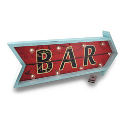 Zeckos - Retro Style Arrow Shaped LED Wooden Bar Sign with Remote Control - This fun vintage style bar sign features 9 LED marquee style lights and is in the shape of an arrow perfect to hang on the wall of your bar, pub, man cave or outdoor sheltered bar oasis. Crafted from wood, this 28.5 inch long, 12.5 inch high, 2.25 inch deep (72 x 32 x 6 cm) bar sign is painted blue and red with BAR printed in black lettering that easily mounts to almost any surface using the attached hangers on the back. This sign includes a remote control to easily turn it on or off, and includes 1 CR2025 coin cell battery, while the sign uses just 2 AA batteries (not included). This lighted arrow bar sign is great as a gift any vintage/antique style bar sign collector is sure to admire