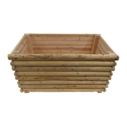 """Master Garden Products - Stacking Log Cabin Rectangle Planter, 72""""l X 26""""w X 24""""h - These larger size country log cabin style planters can be positioned anywhere of your choice to give a splash of style to your paths, patios or deck areas around residential or commercial premises. Comes in four larger side panels wall and the bottom, easy assembly with simple tools. Constructed with 100% natural rot resistant white cedar split log wood."""